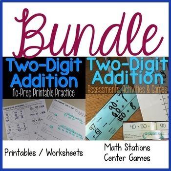 Two-Digit Addition No-Prep Practice & Math Stations BUNDLE
