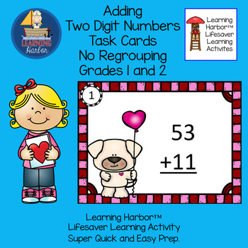 Two Digit Addition No Regrouping  Valentine Puppy Love Task Cards Grades 1 and 2