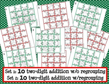 Two-Digit Addition Picture Puzzles {Christmas Cookies}