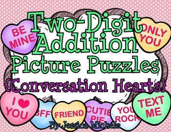 Two-Digit Addition Picture Puzzles {Conversation Hearts}