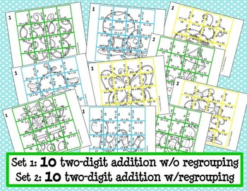 Two-Digit Addition Picture Puzzles {Springtime}