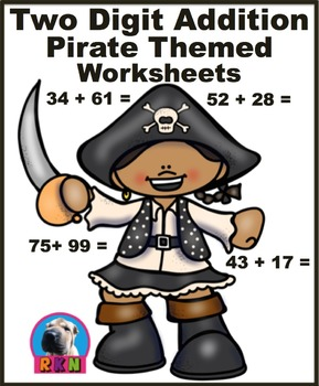 Two Digit Addition - Pirate Themed Worksheets - Horizontal
