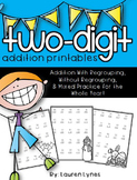 Two Digit Addition Printables {With & Without Regrouping}