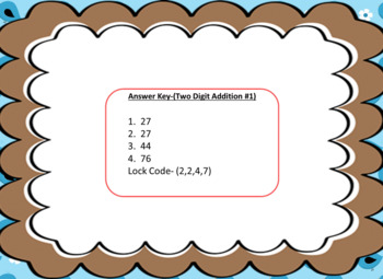 Two Digit Addition Problems without Regrouping-Lock Box Escape Room Activity