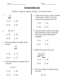 Two Digit Addition Quiz/Assessment
