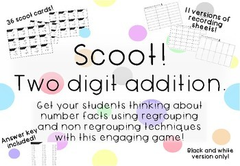 Two Digit Addition Scoot Game Task Cards