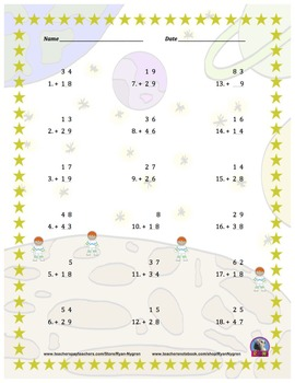 Two Digit Addition - Space Themed Worksheets - Vertical