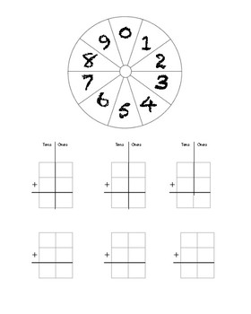 FREEBIE Two Digit Addition Spinner
