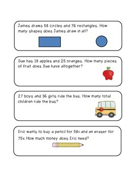Two Digit Addition Story Problems