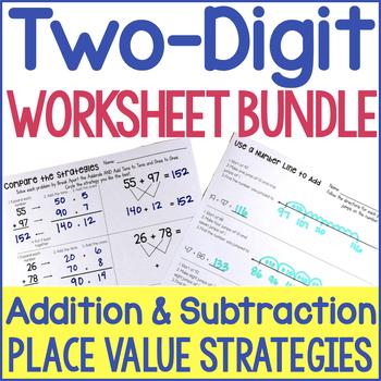 Two-Digit Addition & Subtraction No-Prep Printables BUNDLE