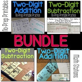 Two-Digit Addition & Subtraction No-Prep Printables  & Math Stations BUNDLE