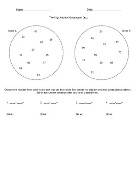 Two Digit Addition/Subtraction Quiz