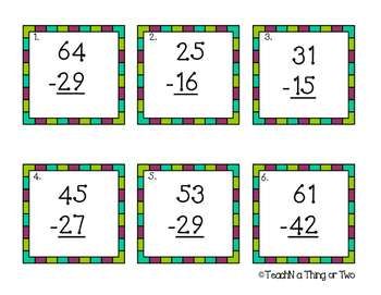Addition & Subtraction Scoot Games for two-digit equations