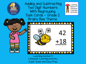 Two Digit Addition & Subtraction  Task Cards - Brainy Bees  Grade 2