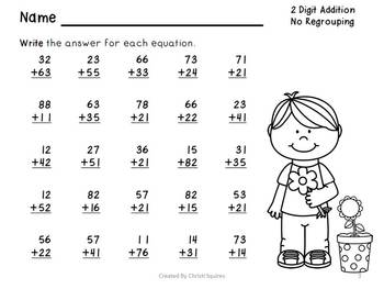two digit addition subtraction worksheets without regrouping tpt. Black Bedroom Furniture Sets. Home Design Ideas
