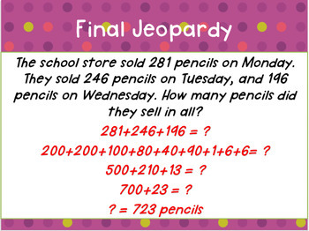 Grade 2 Two-Digit Addition/Subtraction and Place Value Common Core Math Jeopardy