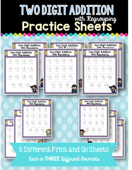 Two Digit Addition & Subtraction with Regrouing  BUNDLE
