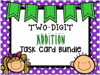 Two Digit Addition Task Card Bundle