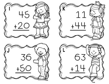 Two-Digit Addition Task Cards {No Regrouping}