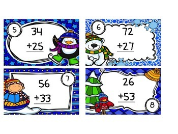 """Two Digit Addition Task Cards-""""Snow"""" Much Fun!!"""