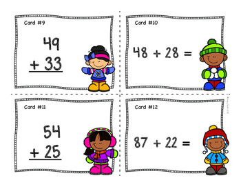 Two Digit Addition - Task Cards - Winter Themed