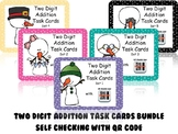 Two-Digit Addition Task Cards with Self Checking QR Code – WINTER Version BUNDLE