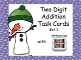 Two-Digit Addition Task Cards with Self Checking QR Code – WINTER Version SET 1