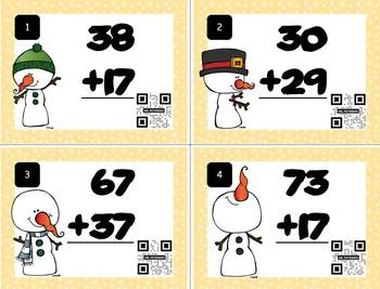 Two-Digit Addition Task Cards with Self Checking QR Code – WINTER Version SET 4