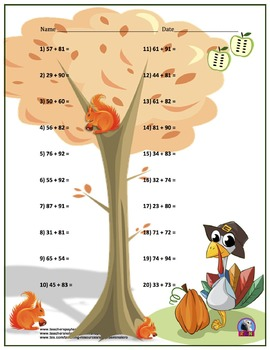 Two Digit Addition - Thanksgiving/Fall Themed Worksheets - Horizontal