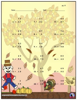 Two Digit Addition - Thanksgiving/Fall Themed Worksheets - Vertical