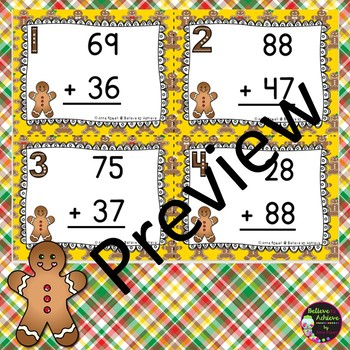 Two Digit Addition WITH regrouping (Gingerbread boy theme)
