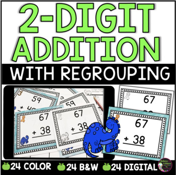 Two-Digit Addition WITH regrouping task cards (Dinosaur theme)