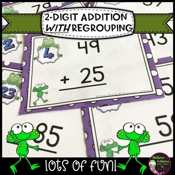 Two-Digit Addition WITH regrouping task cards (Frog theme)