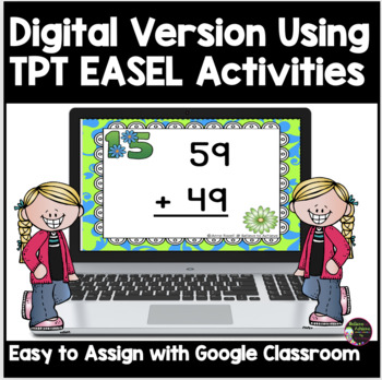 Two-Digit Addition WITH regrouping task cards (Spring theme)