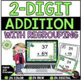 2-Digit Addition WITH regrouping task cards (Spring theme)