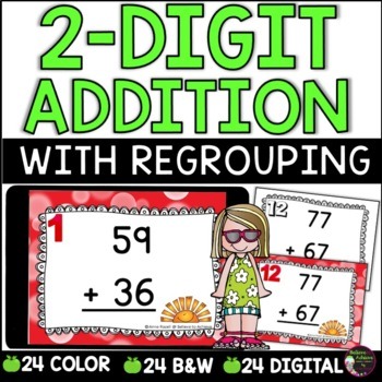 Two-Digit Addition WITH regrouping task cards (Summer theme)