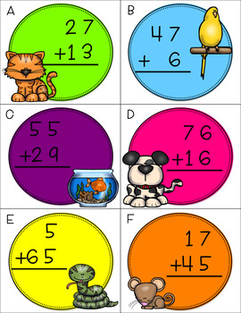 Two Digit Addition With Regrouping CENTERS BUNDLE