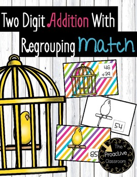 Two Digit Addition With Regrouping Match Cards