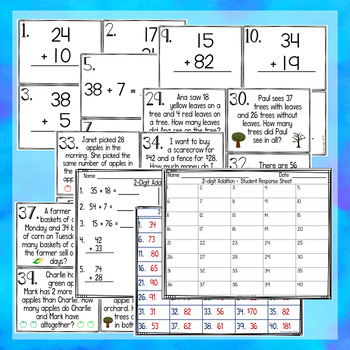 Two-Digit Addition Task Cards With and Without Regrouping