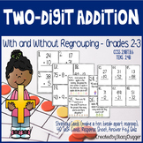 Two-Digit Addition Task Cards and More - With and Without Regrouping