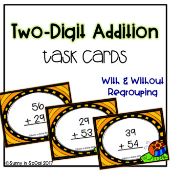 Two Digit Addition With and Without Regrouping Task Cards