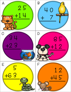 Two Digit Addition Without Regrouping CENTERS BUNDLE