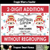 """Two-Digit Addition Without Regrouping -- """"Christmas Llama"""" Task Cards"""