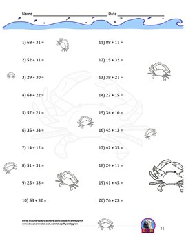 Two Digit Addition Worksheets with Ocean Animals - (15 pages) - Horizontal