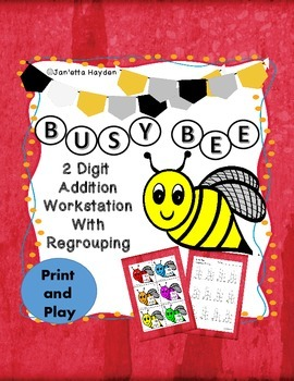 Two Digit Addition Workstation Busy Bee