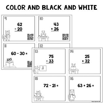 Two Digit Addition and Subtraction No Regrouping Task Cards with QR Codes