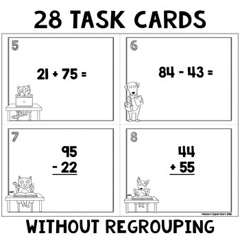 Two Digit Addition and Subtraction Task Card Bundle with Optional QR Codes