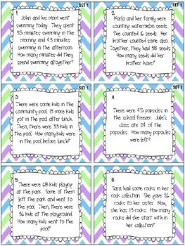 Two Digit Addition and Subtraction Task Cards