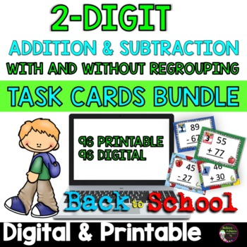 Two-Digit Addition and Subtraction Task Cards Bundle (Back to School theme)