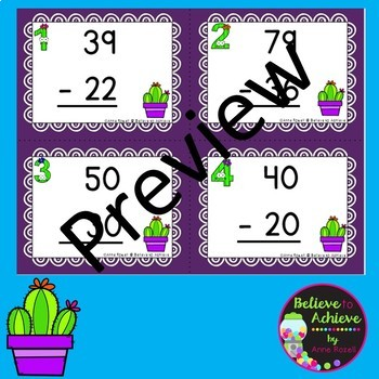 Two-Digit Addition and Subtraction Task Cards Bundle (Cactus theme)